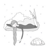 Night girl bunny. Hand drawn vector illustration of a sleeping girl and bunny floating on the clouds among the stars. Isolated objects on white background Stock Photo