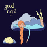 Night girl bunny. Hand drawn vector illustration of sleeping girl and bunny floating on the clouds, with text Good night. Isolated objects. Design concept for Royalty Free Stock Photos
