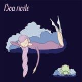 Night girl frog stock illustration