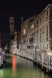 A night glimpse of the Rio dei Greci Canal and in the background Stock Photo