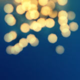 Night Glowing  lights with Defocused gold Bokeh Vintage backgrou Stock Image
