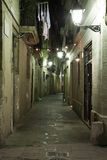 Night Gothic Quarter. Gothic quarter at night. Lane with lamp in Gothic quarter in Barcelona Stock Images