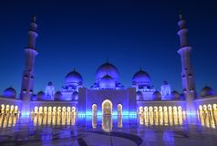 Night of Grand Mosque in Abu Dhabi stock images