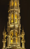 Night Grand Place. Tower of Hotel De Ville in Brussels, Belgium at night Royalty Free Stock Photo