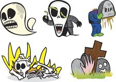 Night Grave. A set of illustrations on monsters and death Royalty Free Stock Photos