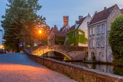 Night Green canal in Bruges, Belgium royalty free stock photography