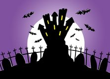 Night of halloween. Digital illustration of the night of halloween. A bewitched castle and the bats Stock Image