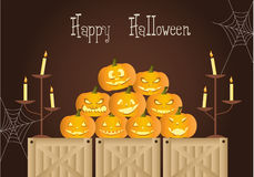 Night of Halloween with candles and pumpkins, illustrations Stock Photos