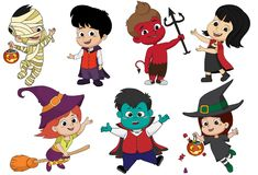 On the night of Halloween the party. The children gathered dress. Fantasy, such as the mummy, dracula witches and demons to participate trick or treating.Vector Stock Images