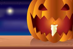 Night halloween pumpkin. Layered and grouped illustration for easy editing Stock Photography