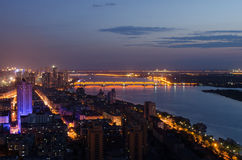 The Night of Harbin. This image was taken from the top of an apartment and show Harbin, China illuminated at night stock photography