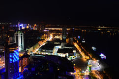 The Night of Harbin. This image was taken from the top of an apartment and show Harbin, China illuminated at night royalty free stock images