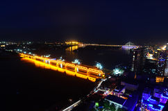 The Night of Harbin. This image was taken from the top of an apartment and show Harbin, China illuminated at night stock image