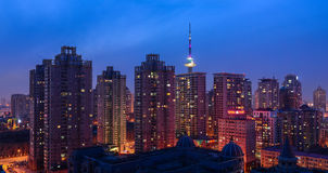 The Night of Harbin. This picture shows the night of downtown area in Harbin stock image