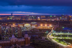 The Night of Harbin. The picture shows the night view of Harbin just after sunset. The building in the middle of the picture is Harbin West Railway Station stock photography