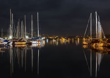 Night in the harbor Royalty Free Stock Photo