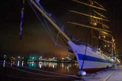 Night harbor tall ships Royalty Free Stock Photo