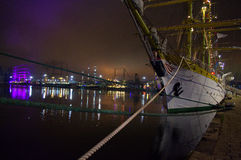 Night harbor tall ships Royalty Free Stock Image