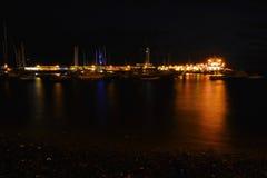 Night harbor view Stock Photos