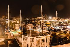 Night of the harbour stock images