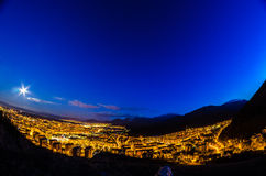 The night has come. A beautiful sunset in Brasov, Romania Stock Image
