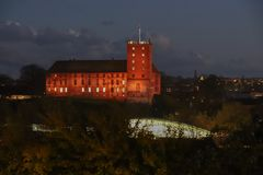 Night HDR photo of Koldinghus an old castle in Kolding Denmark. Red tones Stock Images
