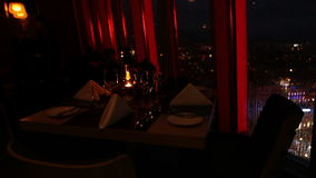 Night high building restaurant with rained window glass stock video footage