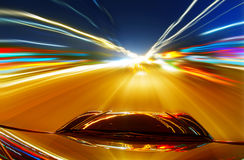 Night, high-speed car Royalty Free Stock Photography