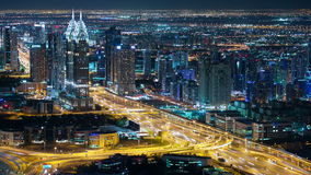 Night high traffic road 4k time lapse from dubai. Night high traffic street time lapse from dubai city stock video