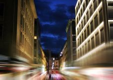 Night highway. City night scene, moving on the street  of Geneva Royalty Free Stock Photos