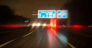 Night highway bad weather background Stock Photo