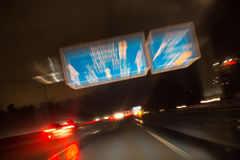 Night highway bad weather background Stock Photos
