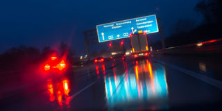 Night highway bad weather background Stock Images