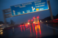 Night highway bad weather background Royalty Free Stock Photo