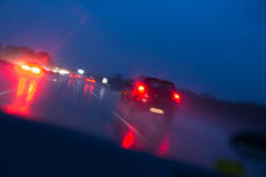 Night highway bad weather background Royalty Free Stock Images