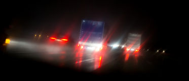 Night highway bad weather background Royalty Free Stock Photos