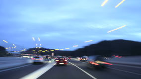 Night Highway Camera Car Time Lapse at Dusk stock footage
