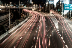 Night highway in the city of Tel Aviv intersection Hahalacha Stock Photography