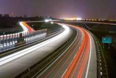 Night highway - long exposure Stock Photos