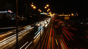 Night highway motion. In perspective view Royalty Free Stock Images
