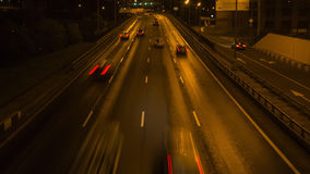 Night highway motion. In perspective view Stock Photos