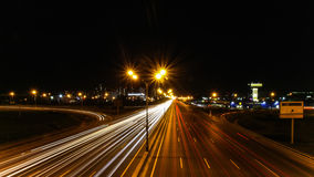 Night highway motion. Summer night highway endless motion Royalty Free Stock Images