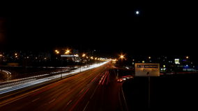Night highway motion time lapse. Night highway motion in perspective view time lapse stock footage