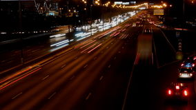 Night highway motion time lapse. Night highway motion in perspective view time lapse stock video footage
