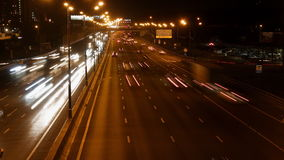 Night highway motion time lapse. Night highway motion in perspective view time lapse stock video