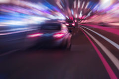 Night highway. With moving cars Royalty Free Stock Image