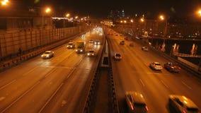 Night highway traffic stock video
