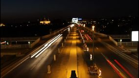 Night highway. Transport hub, night highway, time lapse stock footage