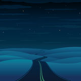 Night Highway. Vector Landscape Royalty Free Stock Photo