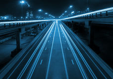 Night highway with viaducts Royalty Free Stock Photography